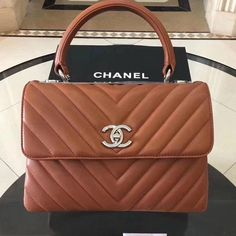 fd51b845b689 Chanel Trendy CC Chevron Lambskin Small Flap Bag with Top Handle Caramel  S/S 2018 ] : Real Purse