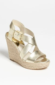 Michael Kors Women's Giovanna Leather Wedge Sandal -- Find out more details by clicking the image : Wedge sandals Michael Kors Style, Michael Kors Fashion, Michael Kors Outlet, Handbags Michael Kors, Coach Handbags, Coach Bags, Christian Louboutin Loafers, Looks Country, Boots