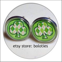 #Free #usa #shipping #Cufflinks 20mm #green #lucky  #shamrock by #boloties #etsy @etsy  #cuff  #links