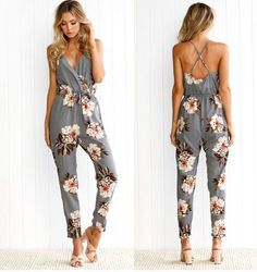 e02971256c4 New Arrival Spaghetti Straps Floral Print Jumpsuit Romper for Women Summer