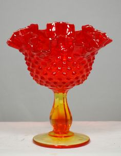 Fluted Hobnail Ruby Red Amberina Depression Art Glass Compote