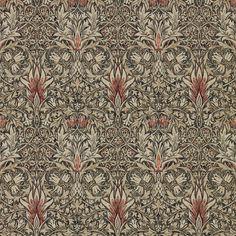 William Morris Snakeshead Charcoal/Spice Tapet