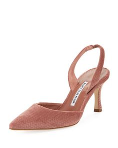 bc18d2e6e96 Get free shipping on Manolo Blahnik Carolyne Etched Fabric Mid-Heel Halter  Pump at Neiman