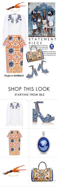 """""""Stand Up! Platform Sandals"""" by naturalbornstyler on Polyvore featuring Roberto Cavalli, Tabitha Simmons, Tata Naka, Bling Jewelry, Awon Golding Millinery, Dolce&Gabbana and platforms"""