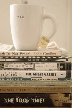 tea and books and books and tea Books And Tea, I Love Books, Chocolate Cafe, The Book Thief, My Cup Of Tea, Book Nooks, Book Lovers, Tea Time, The Best