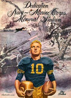 1959 Navy Midshipmen Stadium Dedication 36 x 48 Framed Canvas Historic Football Poster College Football Games, School Football, Football 101, Football Stuff, Army Navy Football, Notre Dame Football, Navy Marine, Army & Navy, Navy Midshipmen