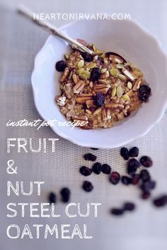 I have recently discovered the yumminess that is steel cut oats. I like to use my instant pot to cook my oatmeal and I play around with different variations. I made this fruit & nut version recently and it received raves! Vegetarian Dinners, Vegetarian Recipes, Steel Cut Oatmeal, Healthy Gluten Free Recipes, Raves, Recipe Collection, Nirvana, Instant Pot, Breakfast Recipes