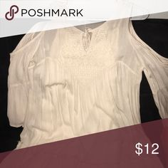 Ivory Cold Shoulder Dress This is your go to dress for summer! You never have to iron it because it's made of this light crinkled rayon.  You can wear it with sandals or black booties and throw on your cute hat with it.  This is a cute sort of boho style dress. Xhilaration Dresses
