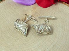 Vintage Sterling Silver Chain Link Cufflinks; Hand Crafted Filigree! Gorgeous!! #Unbranded
