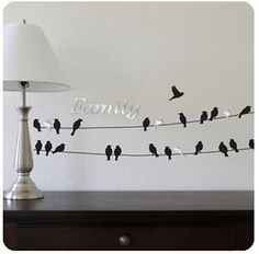 Family Birds on A Wire Wall Stickers 22 Vinyl Decals Plus 5 ...
