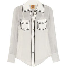 Tory Burch Margee Oxford-striped silk-georgette shirt ($140) ❤ liked on Polyvore featuring tops, blouses, shirts, blusas, ivory, cut loose shirt, striped oxford shirt, striped blouse, white loose blouse and white shirt
