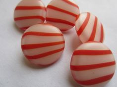 Vintage buttons 5 medium matching red and white by pillowtalkswf, $5.00