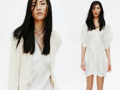 All white is the new black in Zara's April lookbook with Liu Wen.