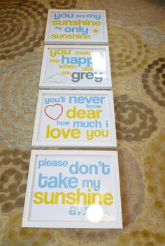 I sing this to the grand kids all the time.You Are my Sunshine - Free Printable Put one in every room of the house (or a differnt song) a little silly saying around the house to let everyone know that their your sunshine at every moment Craft Projects, Projects To Try, You Are My Sunshine, My New Room, Girl Room, Baby Love, Just In Case, Free Printables, Printable Crafts