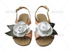 Ladies sandals with white leather rose