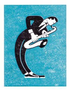 Saxophone player - Press Notes greeting card
