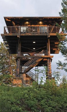 Keeping it Neutral — Fire Lookout Tower Replica, Whitefish, Montana,. Beautiful Tree Houses, Cool Tree Houses, Tiny House Cabin, Cabin Homes, Tree House Plans, Lookout Tower, Tree House Designs, Tower House, Unusual Homes
