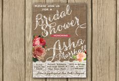 shabby chic invite, rustic burlap lace bridal shower invite, spring shower PROOF in 2 business days on Etsy, $16.50