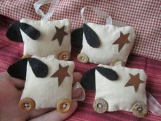 Four Primitive Sheep decorations/Christmas tree decorations/seasonl tree ornaments.. $10.00, via Etsy.