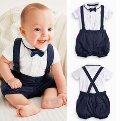2016 Newborn Baby Boy Bow Tie+T-shirt+Bib Pants Overalls Set Outfit Clothes 2016 Neugeborenes Baby Fliege + T-Shirt + Latzhose. Baby Boy Clothing Sets, Newborn Boy Clothes, Newborn Outfits, Baby Boy Newborn, Toddler Outfits, Baby Boy Outfits, Kids Outfits, Infant Clothing, Baby Boy Wedding Outfit