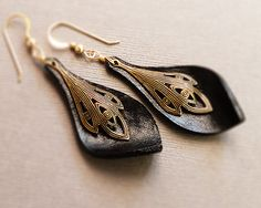 Moulded leather earrings - Vintage touch, Stark black, leaf shaped earrings beautified with golden brass element
