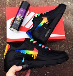 Rainbow drippy nike air max 90 – Best Long boots outfit – Ways to Wear Boots The Definitive Guide Nike Air Max, Air Max 90, Nike Air Shoes, Nike Custom Shoes, Custom Painted Shoes, Moda Sneakers, Cute Sneakers, Sneakers Nike, Yellow Sneakers
