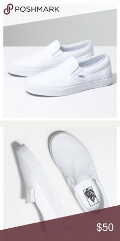 e0b0a8fb1bf0d6 VANS Classic Slip-On True white! Worn once! Like new condition! Vans