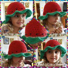 Crochet Watermelon Sun hat Crochet Beanie, Knit Crochet, Crochet Hats, Hat Tip, Beanies, Sun Hats, Watermelon, Tips, Pattern