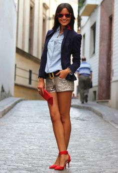 Love the blazer with the denim shirt but again wit skinnies or leggings instead of a shorts for fall