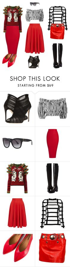 """Красные юбки"" by repriza ❤ liked on Polyvore featuring Dolce&Gabbana, Gucci, Stuart Weitzman, Dorothy Perkins, Balmain, Halmanera and Issey Miyake"