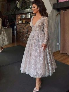 Sexy long sleeve deep V skater long Evening Dresses - ClothingI Formal Dresses With Sleeves, Evening Dresses With Sleeves, Evening Dresses For Weddings, Elegant Dresses, Sexy Dresses, Evening Gowns, Fashion Dresses, Sexy Long Dress, Long Dresses