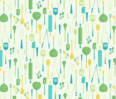 Kitchen Utensils fabric by badger