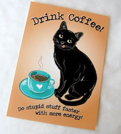 Coffee Black Cat  5x7 Ecofriendly Print by AfricanGrey on Etsy,