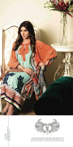 Womens Fashion Pakistani Designer Suits Haute Couture for work / Party and Casual wear- Aeisha Varsey collection. In Green and Orange Latest Summer Pakistani Luxury Lawn Collection. Embroidered Lawn Shirt with Pure Chiffon Dupatta and Lawn Trouser.