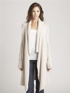 luxurious cashmere chainette drape front cardigan from inhabit.  yum