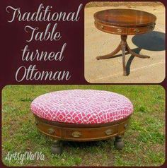 Turning old coffee table into an ottoman i like this roundoval table turned ottoman solutioingenieria Images