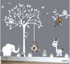 Arbre Blanc Autocollant Bébé Chambre De Bébé Stickers Muraux