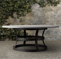 Abbott Concrete Top Round Fixed Dining Table potterybarn I am