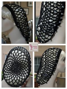 Black Snood with Swarovski Crystals. Handmade in the USA. Attending a medieval/renaissance fair, a feast or costume party? Then this snood is the perfect addition to your kits. It is created using soft cotton thread. The smooth black finish, coupled with dazzling Swarovski crystals, adds sophistication and style to this fashion accessory. $36.00 + shipping #medieval #snood #cotton #black #Swarovski #renaissancefair #Belegarth #costume #sophisticated #cr8tivelefty #handmade #crochet
