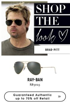9fdee2b8c Brad Pitt wearing #classic #rayban aviator #green sunglasses. Shop an  exclusive style