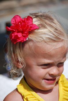 Fuchsia Hibiscus Satin Flower Clip - Flower Hair Clip - Luau Hair Clip-Birthday Favor. $6.50, via Etsy.