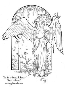 Angel of Spring Line Art by AngelaSasser.deviantart.com on @DeviantArt Download a free coloring book page of this image at the link! http://angelasasser.deviantart.com/art/Angel-of-Spring-Line-Art-88568688