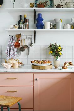 Think Pink - 28 Cool Kitchen Cabinet Colors - Photos
