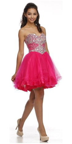 ON SPECIAL - LIMITED STOCK - Poofy Prom Dress Fuchsia Short Tulle Skirt A Line Strapless