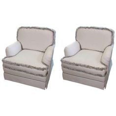 Image of English White & Silver Fringe Club Chairs - A Pair