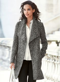 Next Black & White Solid Belted Coat