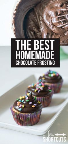 This is absolutely THE BEST Homemade Chocolate Frosting Recipe EVER! Plus you can make it dairy free! This is a must have recipe! Chocolate Triffle Recipe, Homemade Chocolate Frosting, Chocolate Smoothie Recipes, Lindt Chocolate, Chocolate Crinkles, Chocolate Drizzle, Chocolate Cupcakes, Chocolate Roulade, Chocolate Mouse