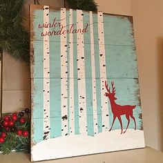 Create this project with Americana® Acrylics — A deer stops by a snow-covered forest in this painted sign commemorating winter.