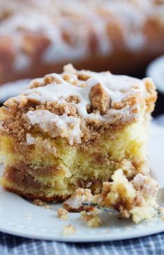 This Sour Cream Coffee Cake is buttery, tender and loaded with layers of cinnamon streusel and then finished off with a vanilla glaze It's the perfect cake for a breakfast or brunch or even as a dessert to finish off a delicious meal. Baking Recipes, Cake Recipes, Dessert Recipes, Dessert Food, Brunch Recipes, Sour Cream Coffee Cake, Coffee Cream, Coffee Coffee, Cake With Sour Cream