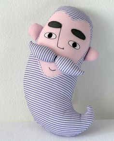 striped face soft toy  violet&white by pollaz on Etsy, $28.00